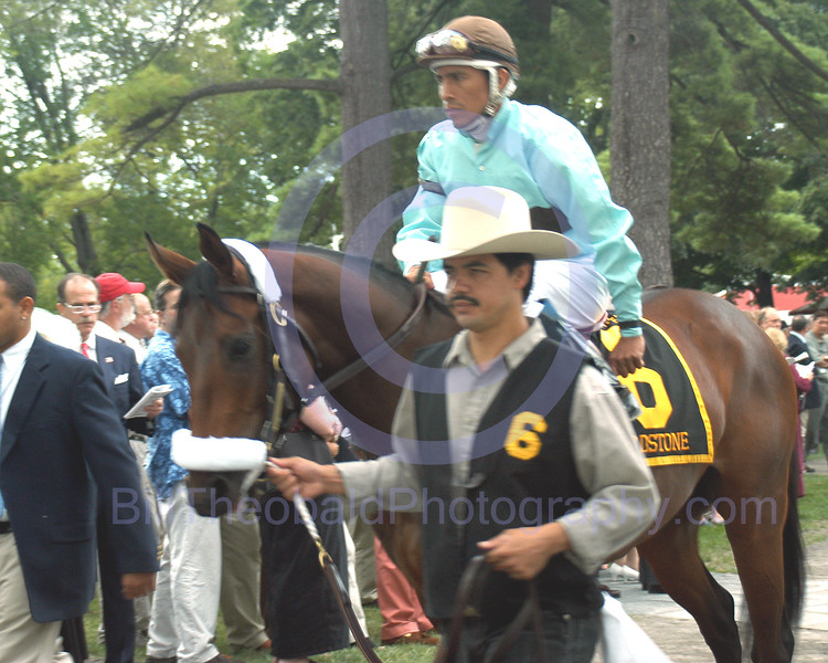 Birdstone with Edgar Prado in the irons in the Paddock before the 2003 Hopeful Stakes at Saratoga Race Course.