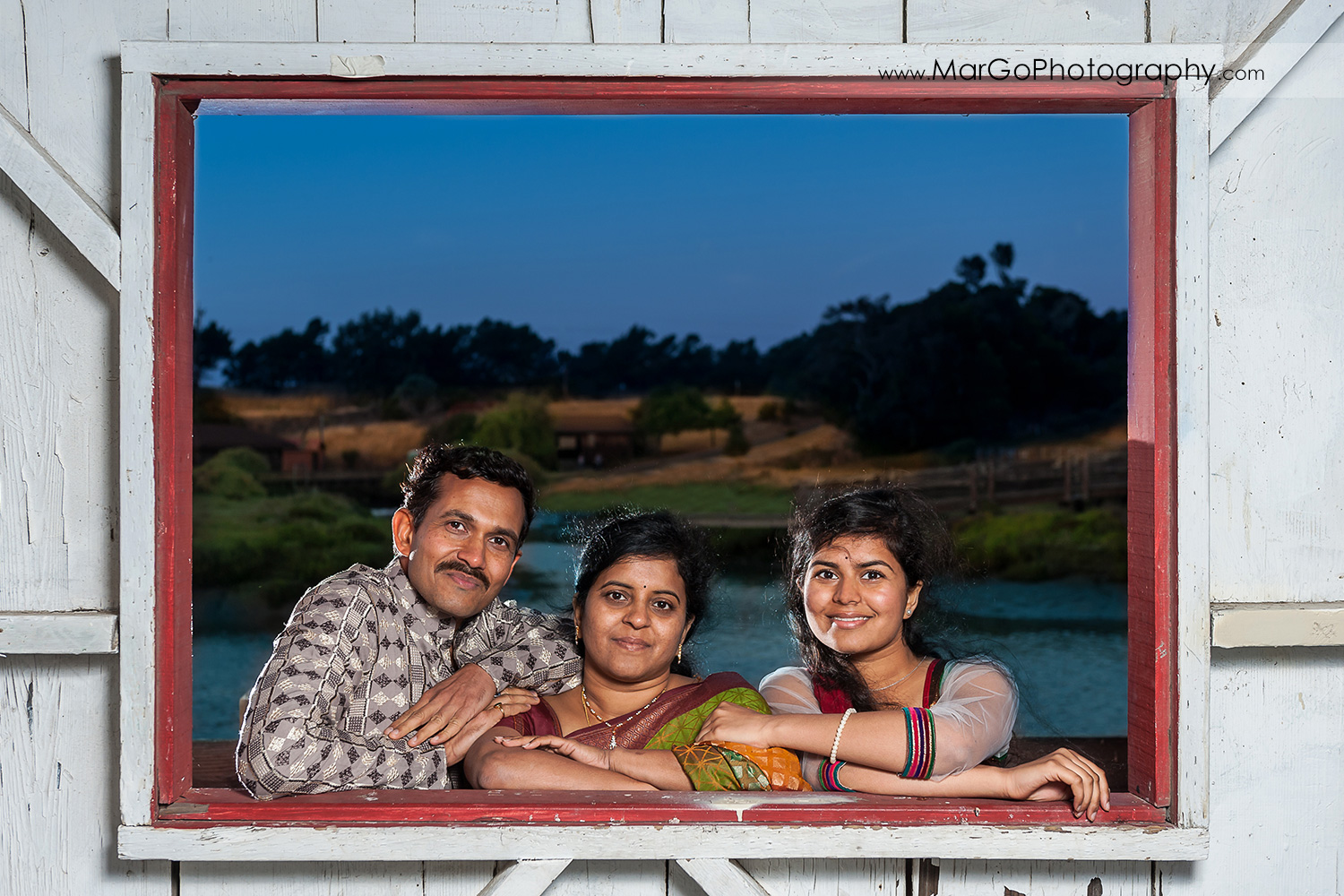 portrait of Indian family in the shed window at Don Edwards Refuge in Fremont