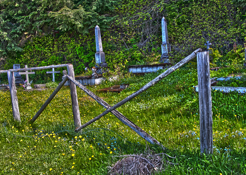 The road into Hoonah passes by this very old cemetery.