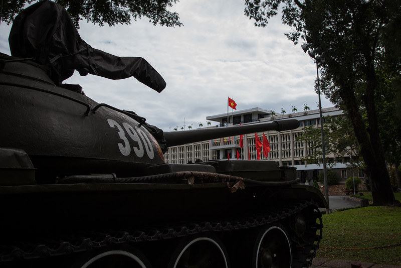 A tank sits in front of Reunification Palace in HCMC just as it did on April 30, 1975 when the VC took control of Saigon.
