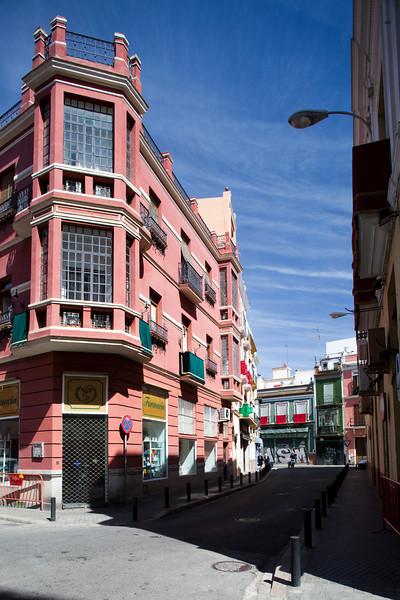 Building on Delgado street, downtown Seville, Spain