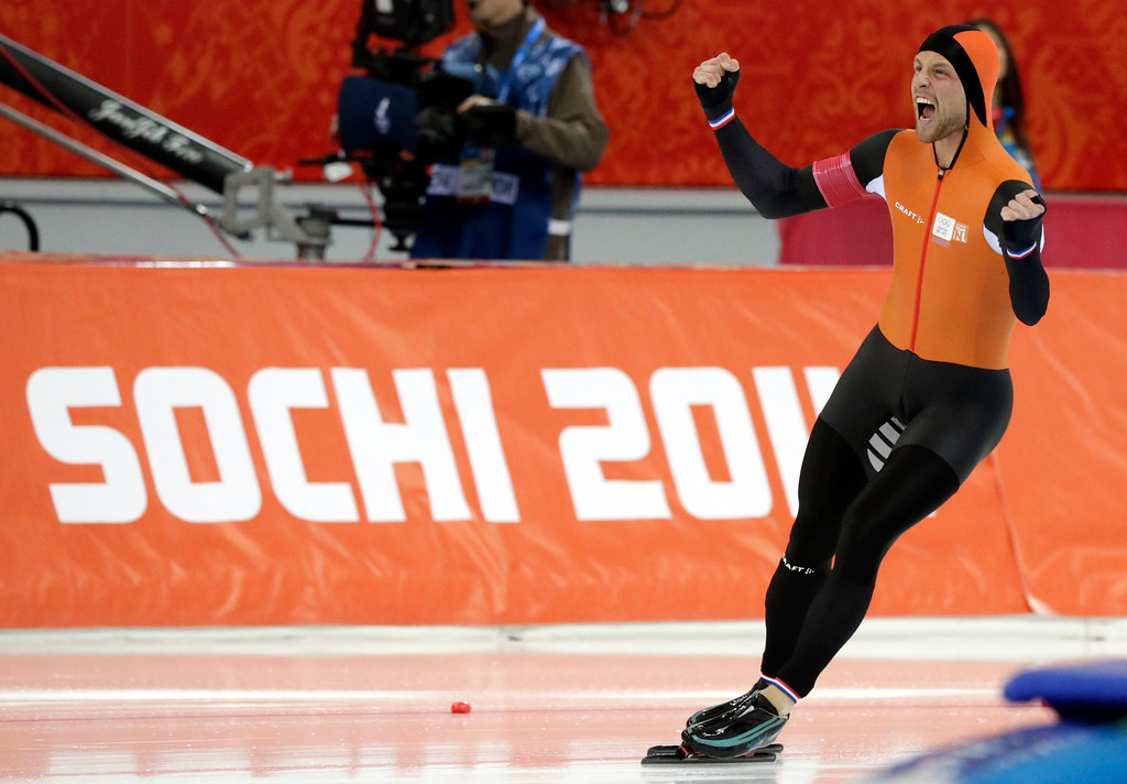 . Gold medallist Michel Mulder of the Netherlands celebrates after completing his second heat for the men\'s 500-meter speedskating race at the Adler Arena Skating Center at the 2014 Winter Olympics, Monday, Feb. 10, 2014, in Sochi, Russia.  (AP Photo/Matt Dunham)