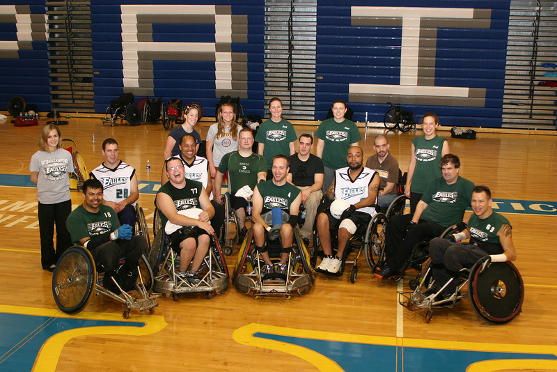 Karalyn and Eric in a team photo.  Eric Anderson is in the center on the front row, #4.  Karalyn Stoner is standing in the back, first person from the right side of the photo.