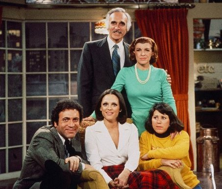 ". Clockwise from top, Harold Gould, Nancy Walker, Julie Kavner, Valerie Harper and David Groh in \""Rhoda.\"""