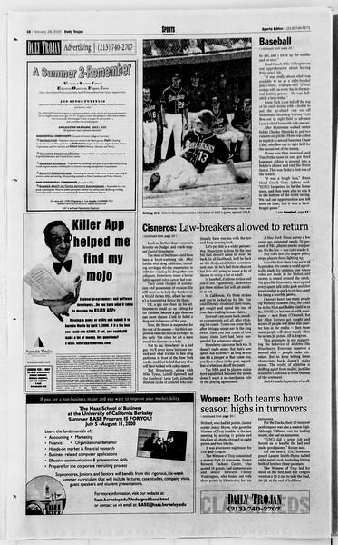 Daily Trojan, Vol. 139, No. 31, February 28, 2000
