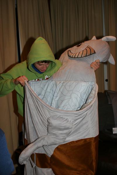 Caleb's new sleeping bag