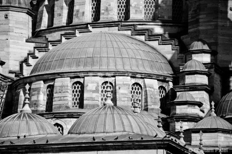 Spice Market, Istanbul. Mosque roofs. : Turkey June 2012