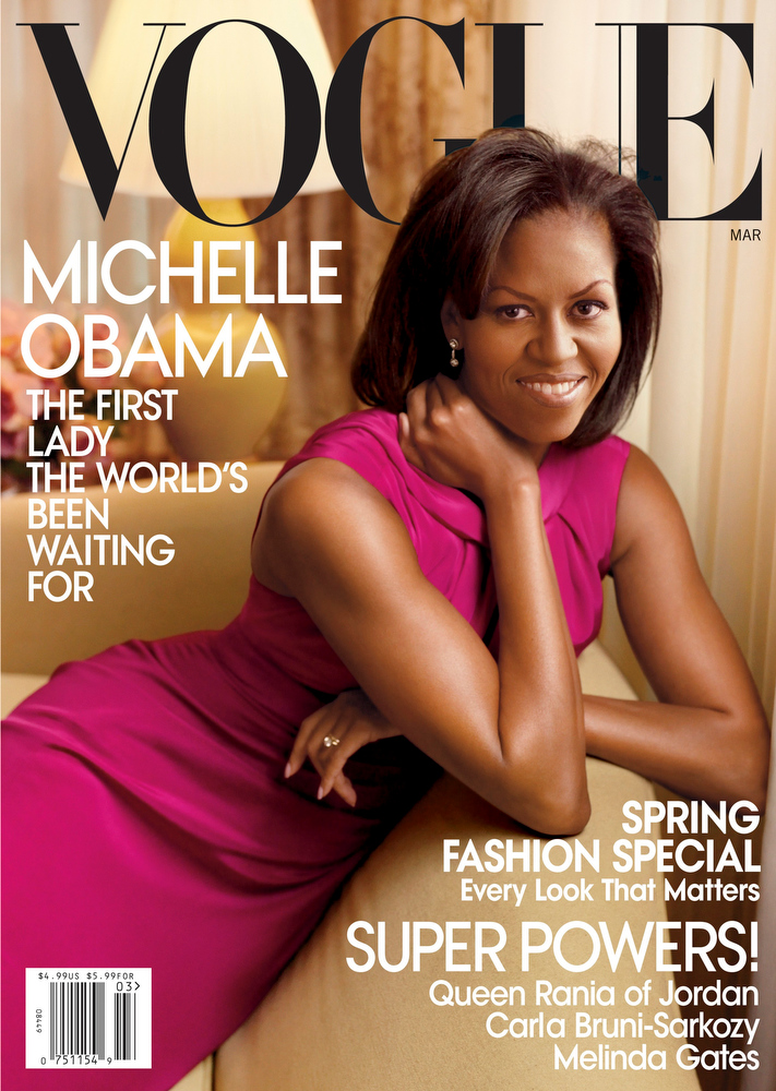 Description of . In this image released by Annie Leibovitz / Vogue, the March 2009 cover of Vogue is seen featuring first lady Michelle Obama.  (AP Photo/Annie Leibovitz / Vogue)