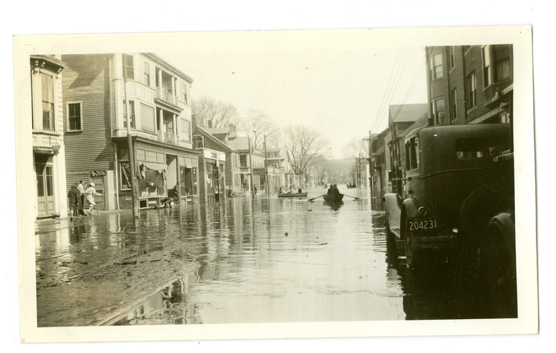 Two boats with firefighters came up Water Street to go to a fire in Bradford