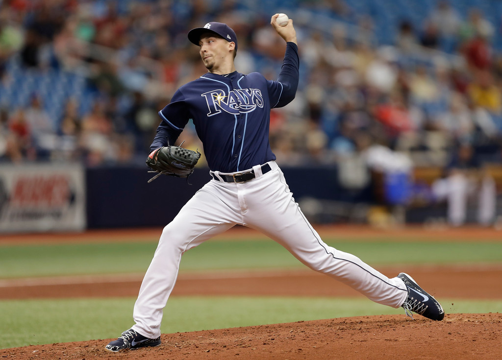 . Tampa Bay Rays starting pitcher Blake Snell during the fourth inning of a baseball game against the Cleveland Indians Wednesday, Sept. 12, 2018, in St. Petersburg, Fla. (AP Photo/Chris O\'Meara)