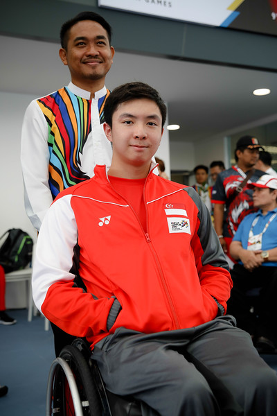 PARA SWIMMING - WEI SOONG TOH in victory ceremony representing Singapore in Men's 100  Meter Backstroke S7 Finals at Aquatics Centre, KL on September 21st, 2017 (Photo by Sanketa Anand)
