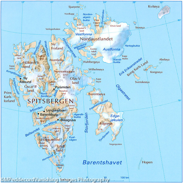 Svalbard Islands  map from Mappery Mappery.com
