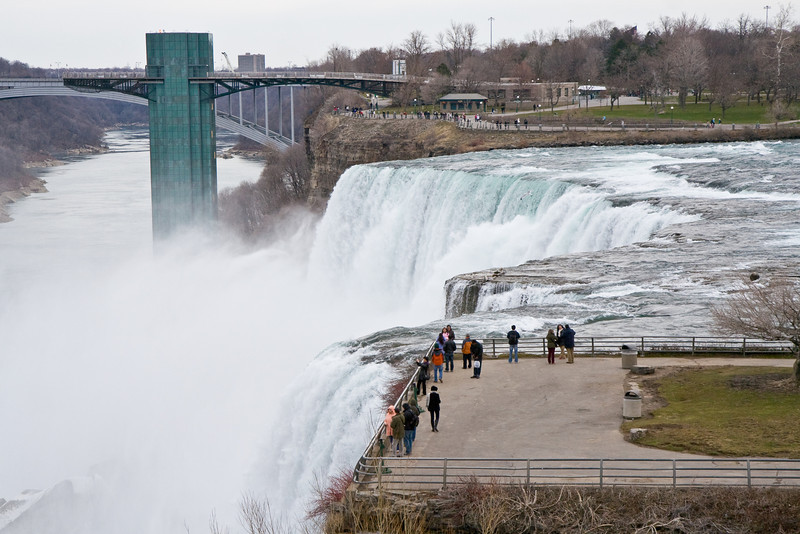 Niagara Falls with the observation tower and Luna Island in foreground