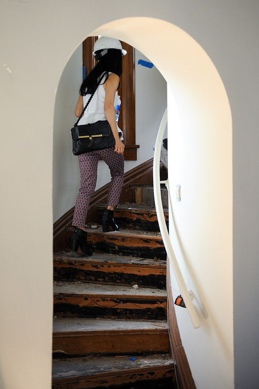 . A circular staircase leads to an upstairs staff room at Glendale�s Brand Library & Art Center. Tuesday, July 23, 2013. (Michael Owen Baker/L.A. Daily News)