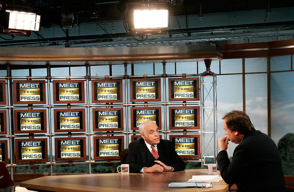 """. WASHINGTON - JULY 16:  Columnist Robert Novak (L) of Chicago Sun-Times speaks as he is interviewed by moderator Tim Russert during a taping of \""""Meet the Press\"""" at the NBC studios July 16, 2006 in Washington, DC. Novak spoke about his unveiling of the identity of CIA operative Valerie Plame that triggered the CIA leak investigation.  (Photo by Alex Wong/Getty Images for Meet the Press)"""