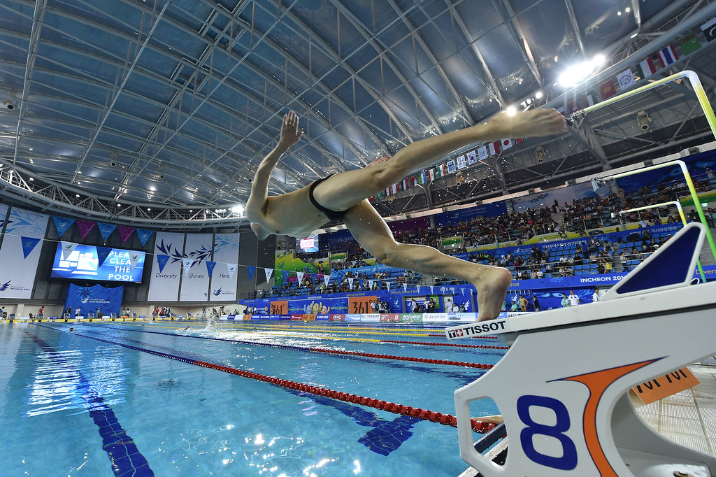 . Competitors train ahead of swimming events during the 17th Asian Games at the Munhak Park Tae-hwan Aquatics Centre in Incheon on September 23, 2014.   PHILIPPE LOPEZ/AFP/Getty Images