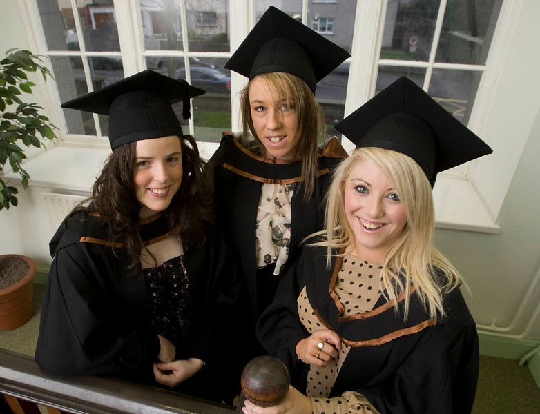 "4/1/2012. News. Waterford Institute of Technology (WIT), conferring ceremony. From Left, Emma Stephenson, Waterford, Tina Mulcahy, Clonmel, Co Tipperary and Laura O'Keefe, Mooncoin, Co. Kilkenny who graduated in Bachelor of Arts (Honours) in Accounting. Photo Patrick Browne  Upbeat mood at WIT's conferring ceremonies  An optimistic note has been signaled by Mr Tony McFeely, Acting President of Waterford Institute of Technology (WIT), at the first of 11 conferring ceremonies across three days during which 2,652 students were conferred with academic degrees up to doctorate level.  In his conferring address, Mr McFeely said: ""We cannot ignore the dark economic clouds that have surrounded the country for the past few years. Job opportunities are not as readily available as they once were. However, your academic achievements should instill a sense of self-confidence. I would encourage you to remain positive and optimistic despite the general gloom. These times will pass; they always do.""  ""We Irish are a resilient people; you are the potential leaders of the future so it's incumbent on you to remain strong and positive,"" continued Mr McFeely. He urged today's graduates to remember the words of Apple founder Steve Jobs at a Stanford graduation in 2005: ""Your time is limited, so don't waste it living someone else's life. Don't be trapped by dogma, which is living with the results of other people's thinking. Don't let the noise of others' opinions drown out your own inner voice. And most important, have the courage to follow your heart and intuition.""  WIT's Chairman, Dr Donie Ormonde, continued the positive theme in his remarks: ""In the modern economy skills and competencies are the tradable commodities that enhance your life experiences and enhance the creative edge of economic and social development. Ireland's capacity to bounce back is directly related to the education and skills infrastructure that it has built. Ireland is an international leader in educational attainment and it is this that will provide the stepping stone to recovery.""  Thirteen PhD students were awarded doctorates and six new programmes were conferred for the first time, including the Bachelor of Arts (Honours), Bachelor of Science (Honours) in Airline Transport Operations, Bachelor of Science in Food Science with Business and Higher Certificates in Arts in Hospitality Studies, Business in Tourism and Culinary Arts.  Of the total 2,652 graduates being conferred with academic awards up to doctorate level, 1,044 are from Waterford City and County. However, WIT graduates hail from all 26 counties of Ireland with Wexford (338), Kilkenny (282), Tipperary (217), and Cork (102) being the next most frequent home addresses.  The strength of WIT's academic portfolio and research capacity was reflected in the President's closing remarks when he urged all graduates to give their support to the Institute in achieving its ultimate goal – becoming the Technological University of the South East, a goal to which the current Government has stated its commitment.   Ends"
