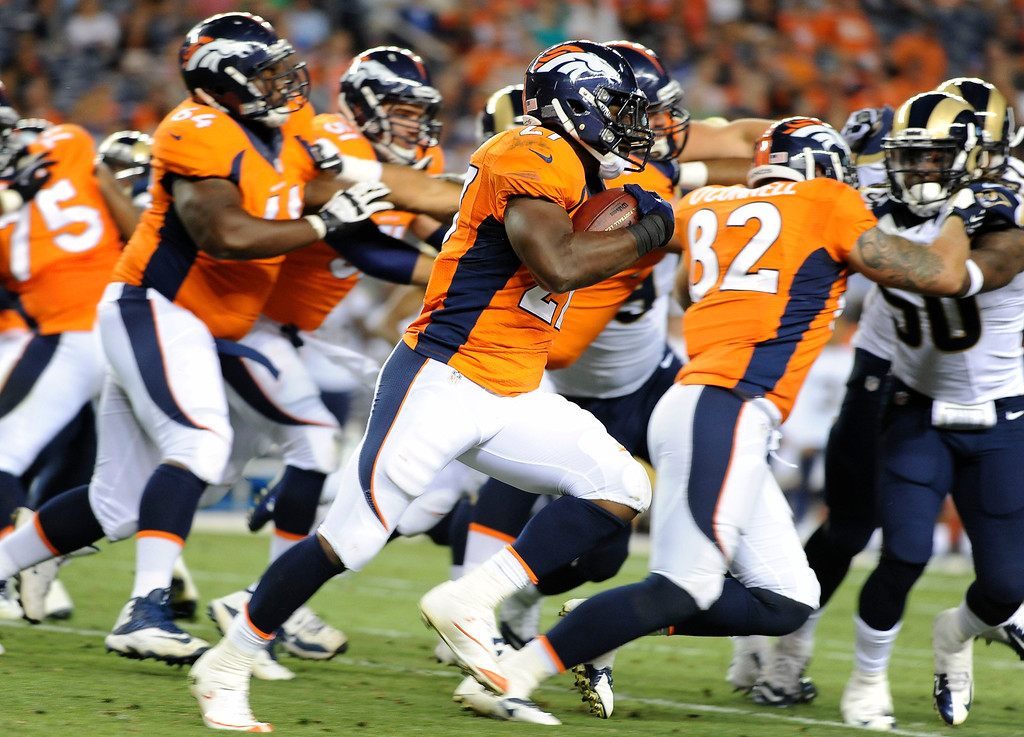 . 7. How will the running-back situation play out?  There may be more Knowshon Moreno in the regular season than what the Broncos showed in the preseason. It could be that rookie Montee Ball and second-year back Ronnie Hillman took most of the first-team reps with Peyton Manning because they needed the practice. Moreno is in his fifth season. Plus, he was coming off a tricky knee surgery, and his health just started to come around leading into the third preseason game against St. Louis. Eventually, Ball will become the featured back, but whether it happens Thursday night, tonight early November or next season depends on how he comes along.  Above: Denver Broncos running back Knowshon Moreno picks up 15 yards on a run around the end in the fourth quarter against the St. Louis Rams Saturday night at Sports Authority Field. Steve Nehf, The Denver Post