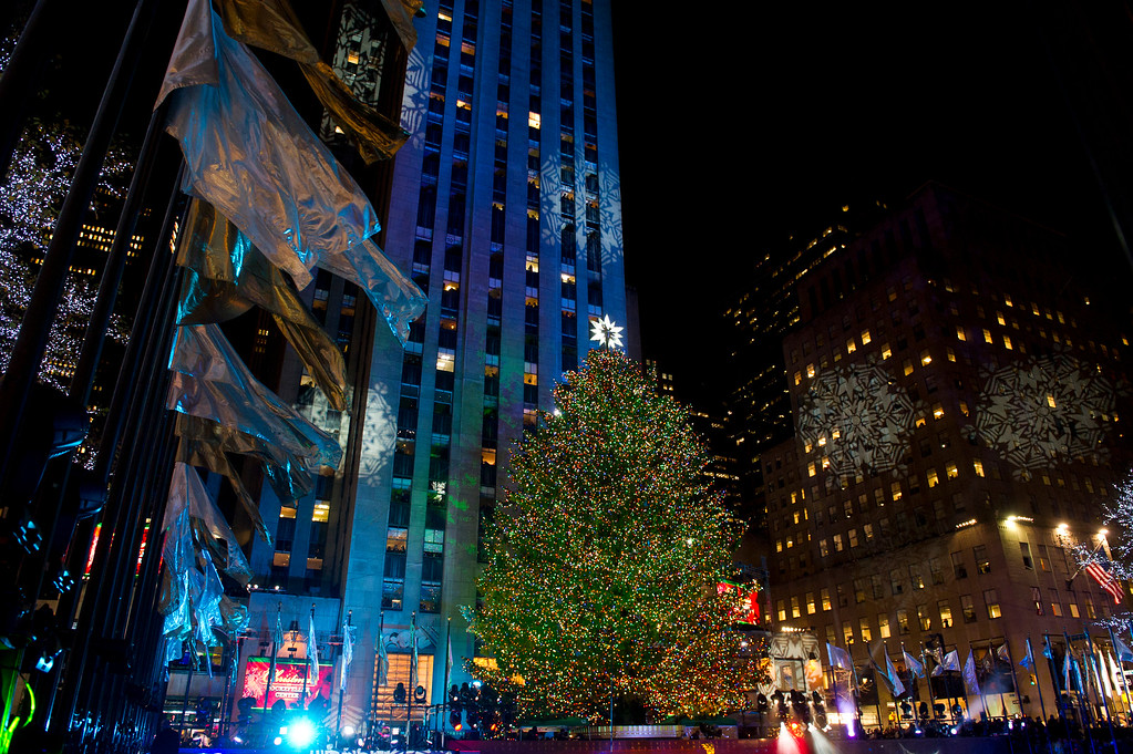. The 74-foot-tall Rockefeller Center Christmas tree is lit using 30,000 energy efficient LED lights during the 79th annual lighting ceremony, in New York, Wednesday, Nov. 30, 2011. (AP Photo/Charles Sykes)