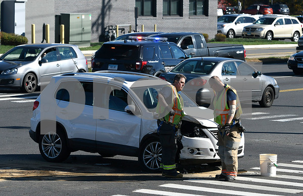 10/27/2017 Mike Orazzi | Staff The scene of a two car crash at the intersection of Mountain and Middle Streets in Bristol Friday afternoon. No serious injuries were reported and both vehicles were towed from the scene.