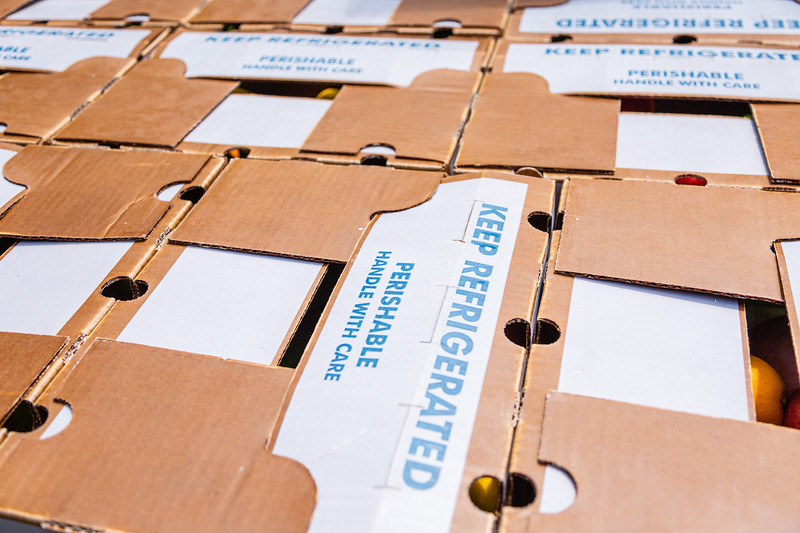 Closed boxes of fruits and vegetables being sold at East Coast Farms & Vegetables in Lake Worth, on Thursday, March 26, 2020. East Coast Farms is usually a wholesaler of farm-fresh fruits and vegetables, but for the past week, they have operated as a curbside pickup for the community. They offer $10 boxes of farm-fresh produce and a la carte items, such as melons and pineapples. [JOSEPH FORZANO/palmbeachpost.com]