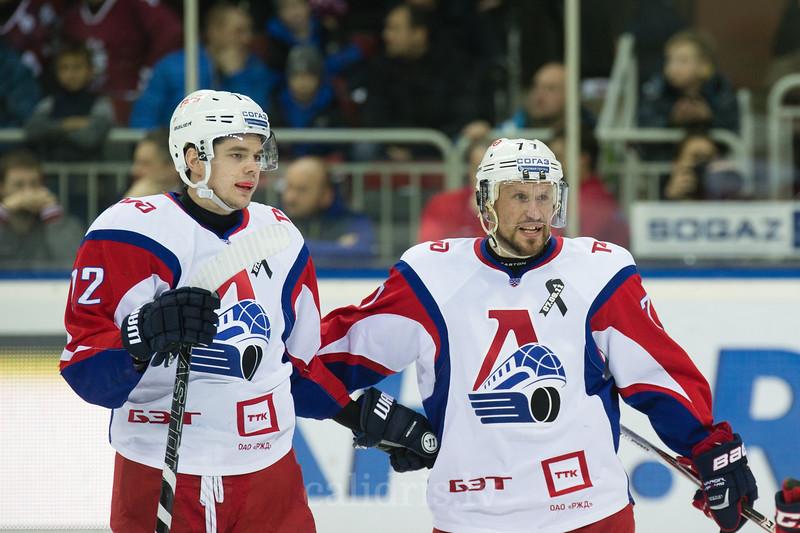 Players Jiri Novotny (12) and Ilya Gorokhov (77) celebrate the goal