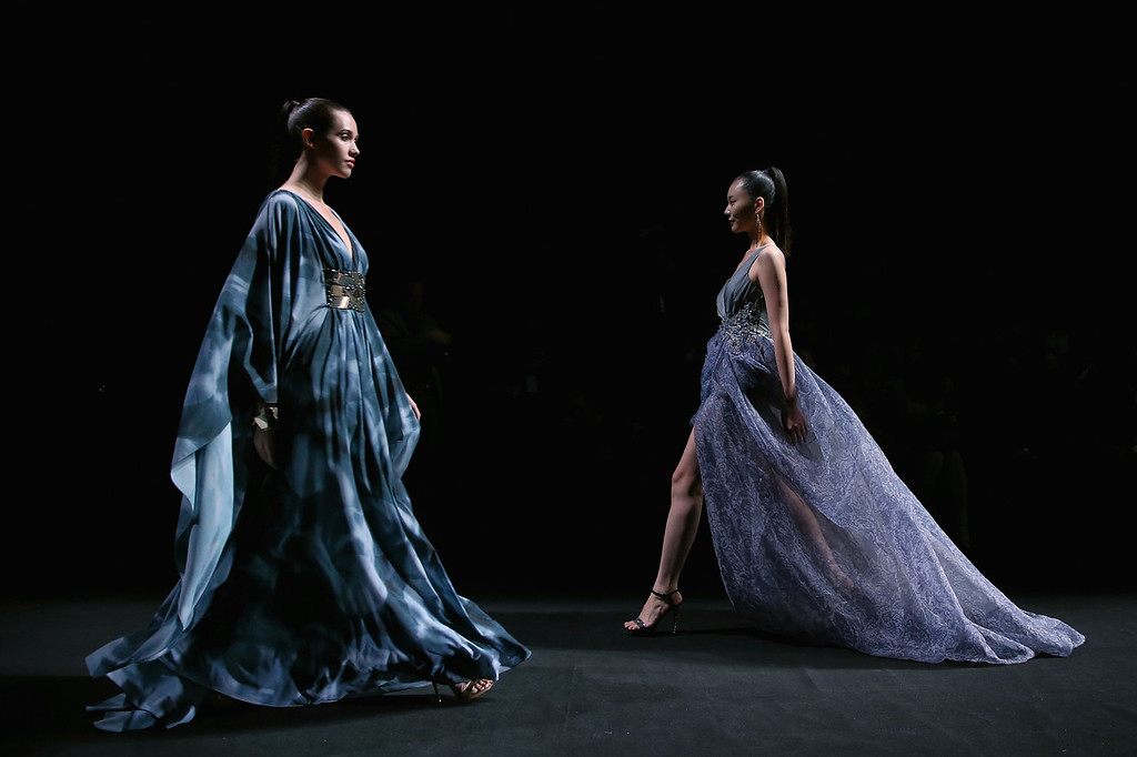 . BEIJING, CHINA - OCTOBER 26:  Models showcase designs by Chinese designer Lin Ruoping on the runway at STELLA LAM Lin Ruoping Dress Collection show during Mercedes-Benz China Fashion Week Spring/Summer 2014 at 751 D-PARK Workshop on October 26, 2013 in Beijing, China.  (Photo by Feng Li/Getty Images)