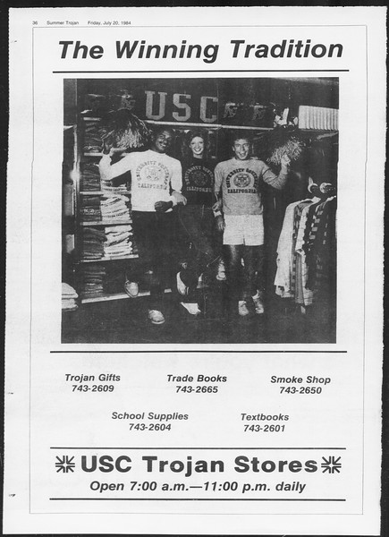 Summer Trojan, Vol. 96, No. 8, July 20, 1984