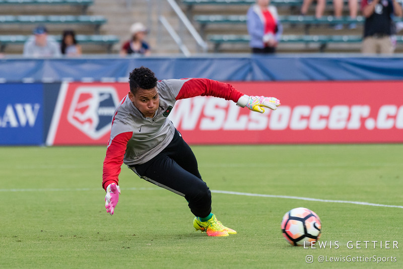 Adrianna Franch (24) warms up before a match between the NC Courage and the Portland Thorns in Cary, NC in Week 2 of the 2017 NWSL season. Photo by Lewis Gettier.