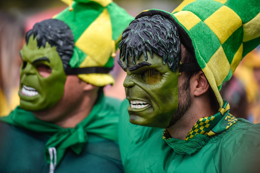 . Fans of Brazil arrive at Mineirao stadium, in Belo Horizonte, Brazil, before the start of the FIFA World Cup semi-final match between Brazil and Germany, on July 8, 2014.  AFP PHOTO / GUSTAVO ANDRADE/AFP/Getty Images