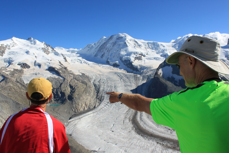 Mr. Hansen pointing out the Monte Rosa Hut to Mr. Piquet