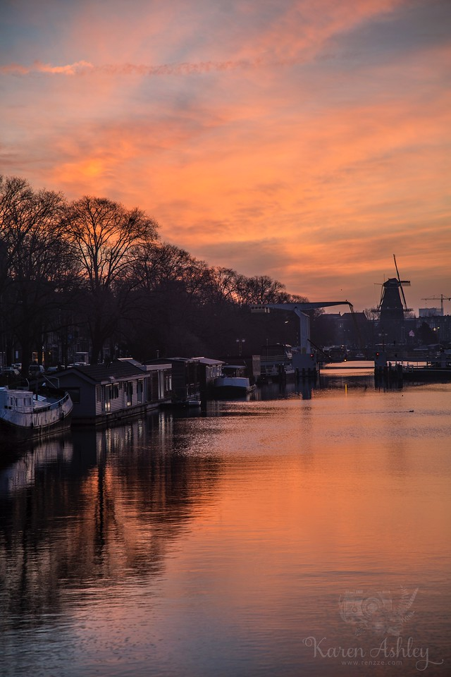 Amsterdam netherlands holland canal sunset