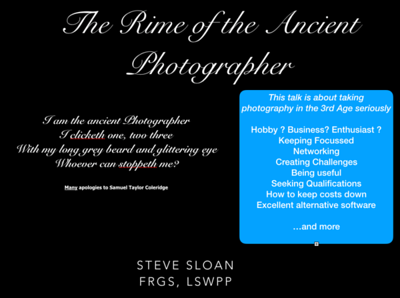 Presentation - Photography in the 3rd Age