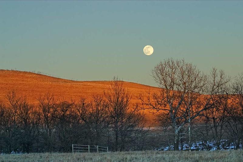 Flint Hills Winter Moonrise