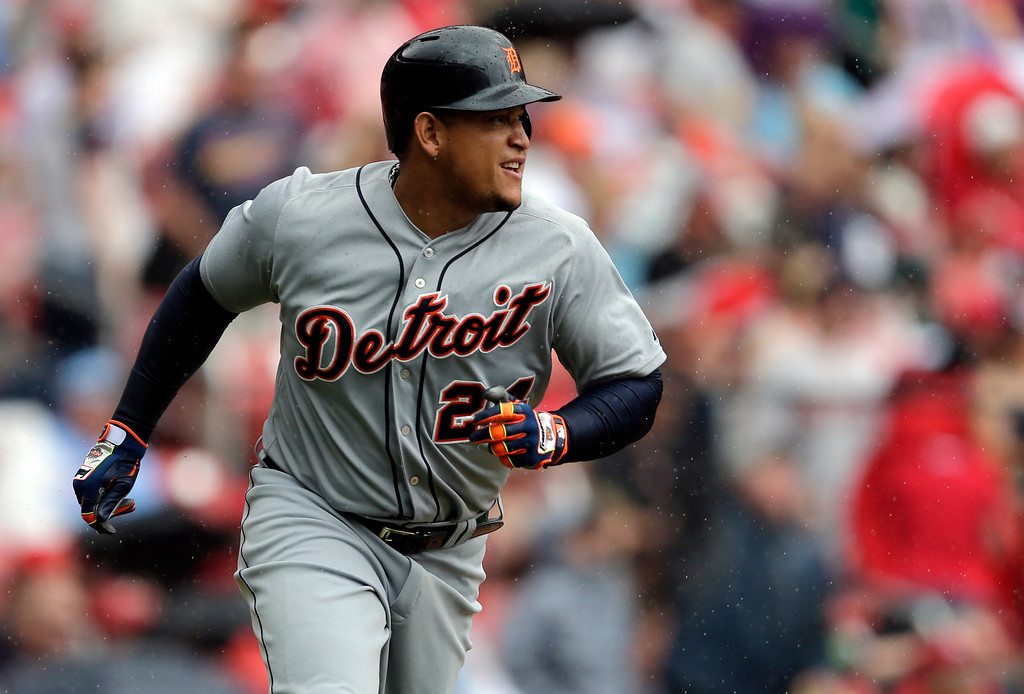. Detroit Tigers\' Miguel Cabrera rounds the bases after hitting a solo home run during the first inning of a baseball game against the St. Louis Cardinals, Saturday, May 16, 2015, in St. Louis. (AP Photo/Jeff Roberson)