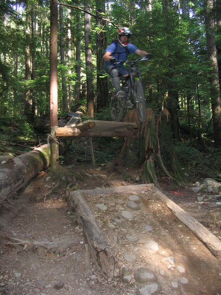 Ian takes a jump on CBC Trail on Vancouver's North Shore