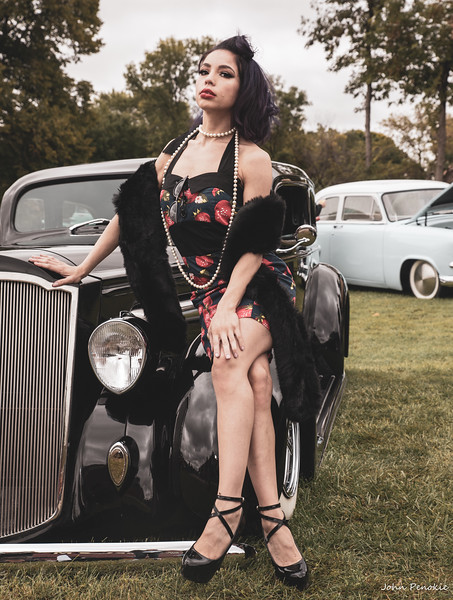 Event: Monsters Model Motars (MMM) 2019 Model: Kassandra Jackson - KayJay Hair:  MUA: SFX MUA:  Photographer: John Penokie / EyeOnYouPhotos.com  Car Year: 1936 Make: Packard Model: Sedan Owner: Rick Vandervest