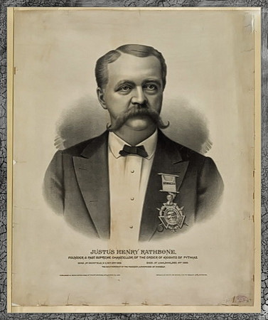 Justus Henry Rathbone, founder & past supreme chancellor of the Order of Knights of Pythias   http://www.jeaf.com/newman/history_of_the_newman_museum.htm  http://www.rootsweb.ancestry.com/~kygrant/secret.htm  http://www.rootsweb.ancestry.com/~arfrankl/Lodge/knights.htm  http://frankfordgazette.com/2009/08/17/knights-of-pythias-greenwood-cemeterybenjamin-rush-house/  http://mill-valley.freemasonry.biz/marin-fraternities-Appendix01.htm  http://ypsiarchivesdustydiary.blogspot.com/2011/04/ypsilanti-knights-of-pythias-1923.html  http://www.rootsweb.ancestry.com/~kygrant/secret.htm  http://arms2armor.com/Swords/pythias4.htm  http://www.icollector.com/Two-Post-Civil-War-Knights-of-Pythias-Kepi-s-and-One-Officer-s-Kepi_i10495263