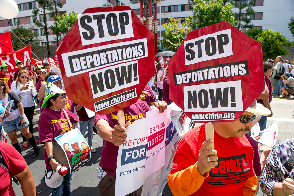. The Coalition for Humane Immigrant Rights of Los Angeles (CHIRLA) joined area organizations and coalitions to march in honor of worker contributions and denounce deportations of undocumented immigrants living in the United States during a May Day rally May 1, 2014.   (Staff photo by Leo Jarzomb/San Gabriel Valley Tribune)