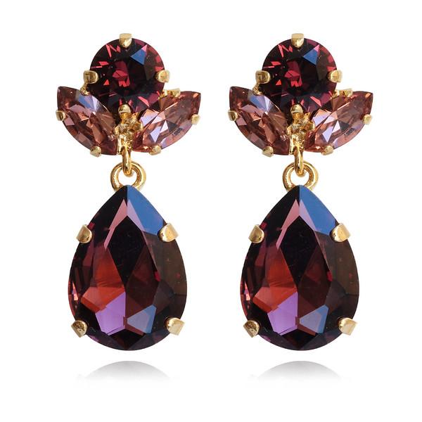 Isadora Earrings / Burgundy + Rose Blush / Gold
