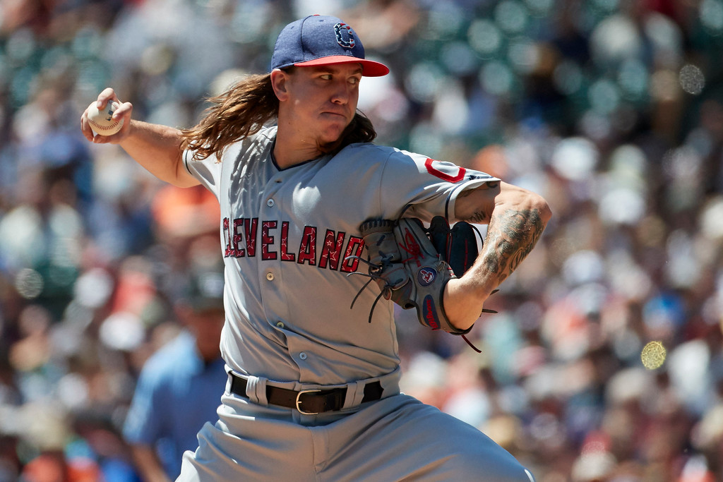 . Cleveland Indians starting pitcher Mike Clevinger throws in the first inning of a baseball game against the Detroit Tigers in Detroit, Sunday, July 2, 2017. (AP Photo/Rick Osentoski)