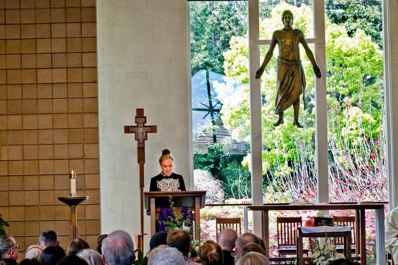 Margaret Mitchell speaking at Pearl Clarke Funeral Mass at Saint Denis Catholic Church.
