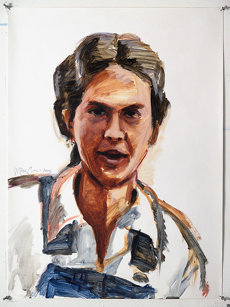 Portrait study - Elaine M/R/L; acrylic on paper, 22 x 30 in, 2000