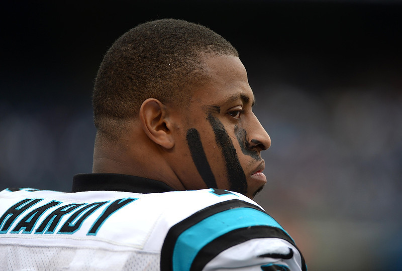 . Greg Hardy #76 of the Carolina Panthers looks onto the field during the game against the San Diego Chargers on December 16, 2012 at Qualcomm Stadium in San Diego, California. (Photo by Donald Miralle/Getty Images)