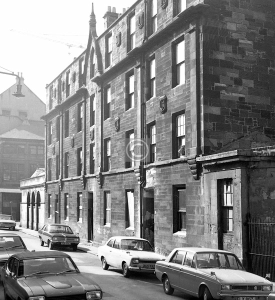 Buchan St, west side. This unusual (unique?) tenement bore the words ALBION PLACE on the façade, in large elaborately carved stone letters in the Gothic style.    September 1973
