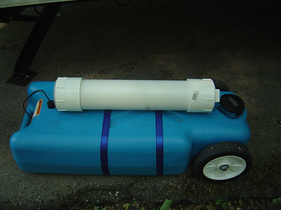 Storage of wasterwater hose and connection