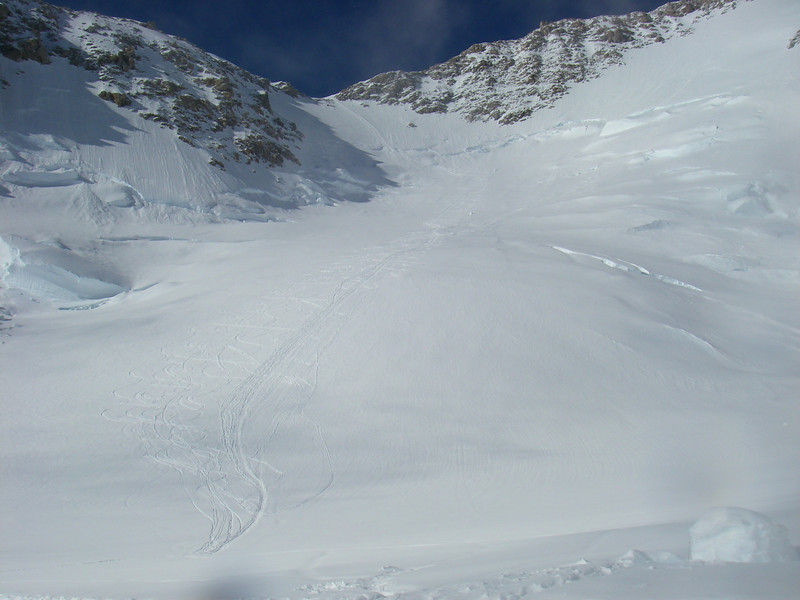 Headwall above C3 (14,200ft = 4.328m) and our ski tracks.
