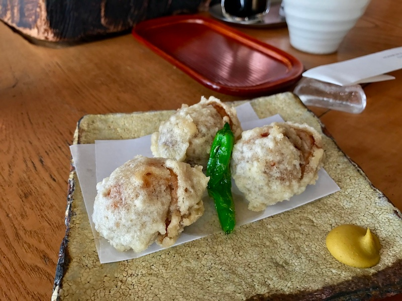 Tori dango with Japanese mustard for dipping.