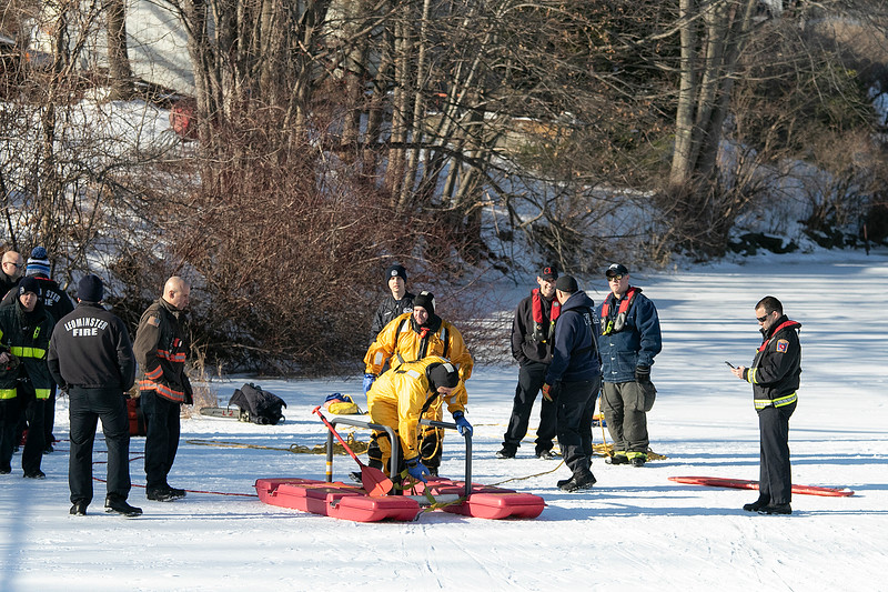 Leominster Fire Department held an ice rescue training on Monday, Dec. 23, 2019 during the warm 50 degree day on Rockwell Pond behind the Senior Center. SENTINEL & ENTERPRISE/JOHN LOVE