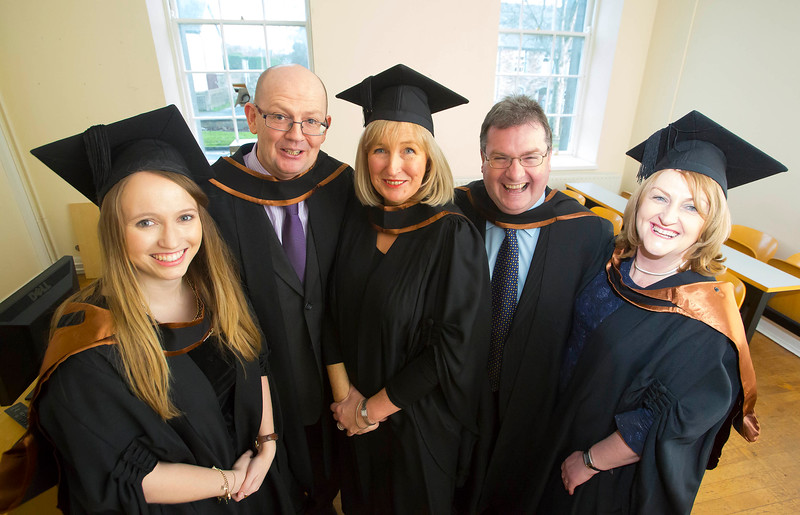 Waterford Institute Of Technology Conferring. Pictured at WIT Waterford Institute Of Technology Conferring are Louise Osbourne, Carlow, Alex Morahan, Carlow, Mairead Garvey, Gorey, David Conway, Kilkenny and Susan Jacob, Waterford who graduated H Dip. Arts in Social Personal & Health Education. Picture: Patrick Browne